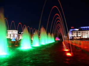 Color Fountains in Kazan. Night view